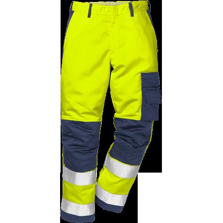 FRISTADS Flame Trousers Hi-Vis cl 2 2042 FBPA Yellow/Navy - Class 1, 13 cal/cm²