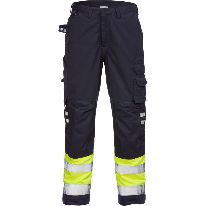 FRISTADS Trousers 2176 ATHS Hi-Vis Yellow/Navy - Class 1, 10.5 cal/cm<sup>2</sup>